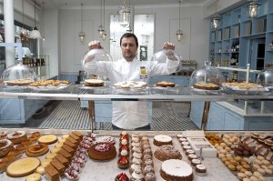 Famous french pastry chef Sebastien Gaudard in his pastry shop Rues des Martyrs in Paris, FRANCE -26/04/2012