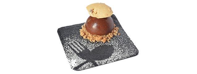 receta semiesfera de chocolate y avellanas