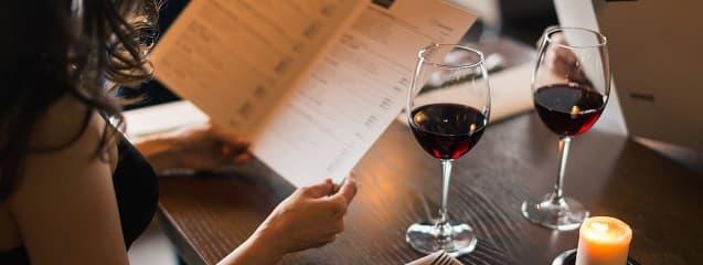 Lista de vinos para el menú o carta de un restaurante