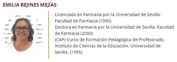 Emilia Bejines, profesora en ESAH